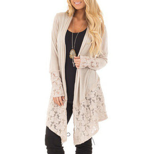 Lace Patchwork Long Sleeve Cardigan
