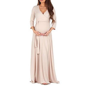 Maternity Full Length Dress With Adjustable Belt