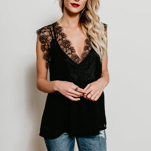 Deep V-Neck Patchwork Lace Plain T-Shirts