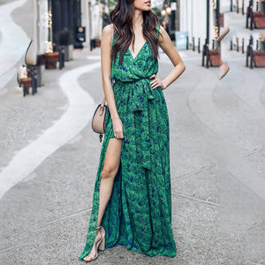 Deep V-Neck High Slit Belt Loops Printed Vintage Maxi Dresses
