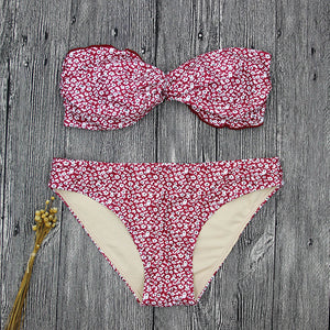 Floral Printed Lace-Up Bikini Swimwear