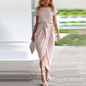 Self Tie Front Slit Ankle-Length Dress