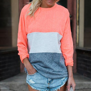 Color Block Long Sleeve Pullover