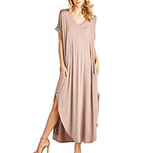 Solid V-Neck Pocket Loose Maxi Dress