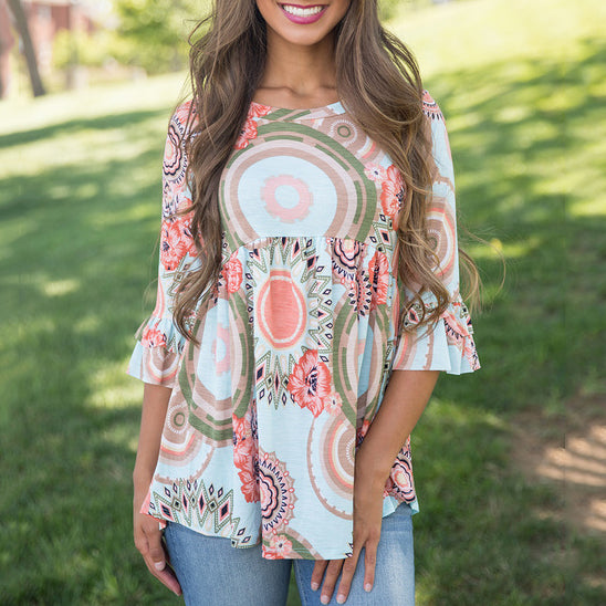 Floral Print 3/4 Trumpet Sleeve Blouse