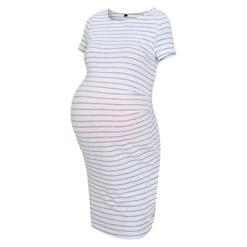 Maternity Striped Fitted Dress