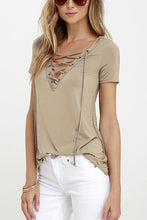 Deep V Neck  Lace Up  Plain T-Shirts