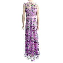 Elegant Embroidery Printed Sleeveless Expansion Evening Dress