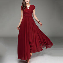 Short-Sleeved Bohemian Chiffon Waist Dress