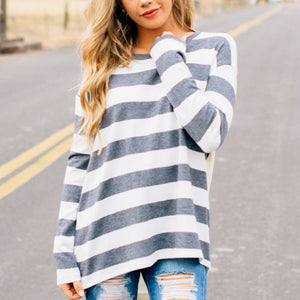 Striped Printed Bat Long-Sleeved Dress Round Collar T-Shirt