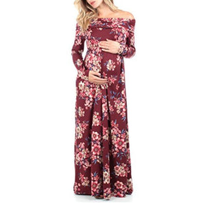 Maternity Off Shoulder Flowers Print Full Length Dress