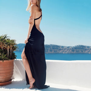 Elegant Sexy Halter Split Sleeveless Long Vacation Dress