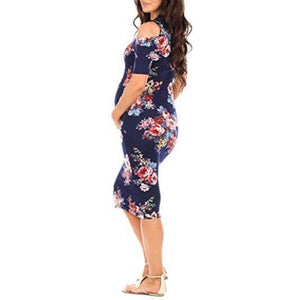 Maternity Cold Shoulder Body-Con Dress
