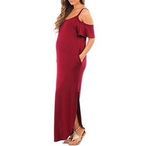 Maternity Cold Shoulder Dress With Pockets