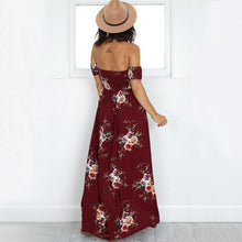 Floral Print Front Slit Off Shoulder Maxi Dress