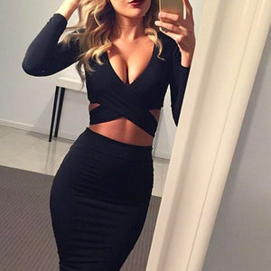 Long Sleeve Elastic Cotton Sexy Midi Pencil Club Bandage Bodycon Dress
