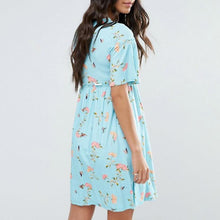 Meternity Floral Trumpet Short Sleeve Dress