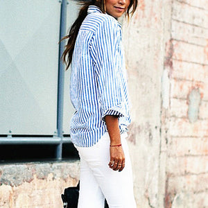 Denim Stripe Casual T-Shirt