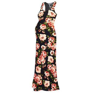Maternity Comfortable Flowers Print Maxi Dress