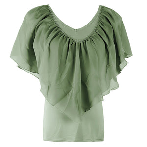 Bat Sleeve Chiffon Stitching T-Shirt
