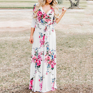 Floral Print Surplice Wrap Self Tie Maxi Dress