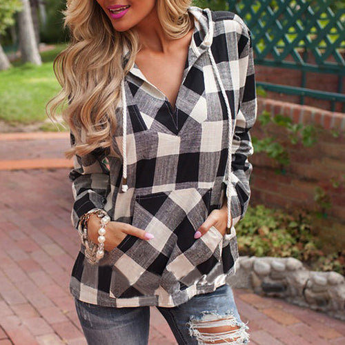 Casual Hooded Plaid Top