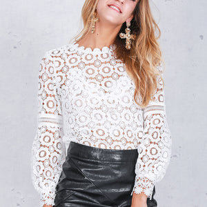 Fashion Plain Lace Hollow Lantern Sleeve Shirt