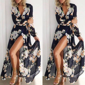 Bohemia Deep V Collar Printing Long Sleeves Beach Vacation Dress