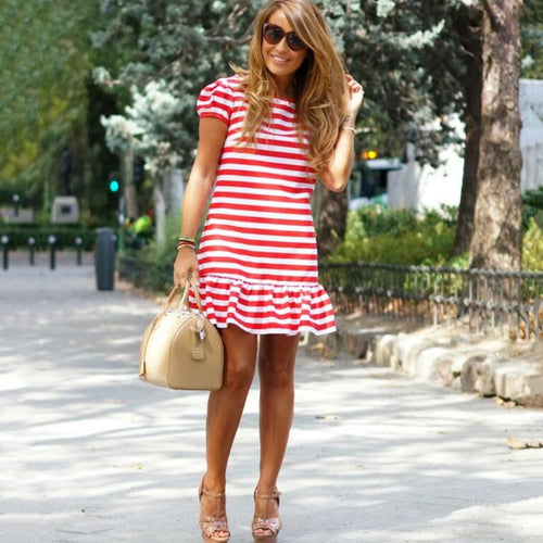 Stripes Frill Hem Women Dress