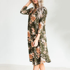 Floral Print Criss Cross Front Choker Neck Knee-Length Dress