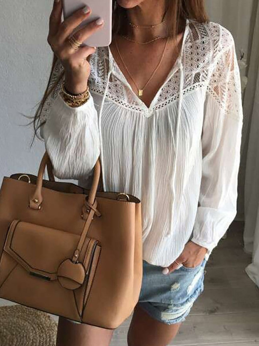 V-Neck Patchwork Hollow Out Plain Shirts&Blouses