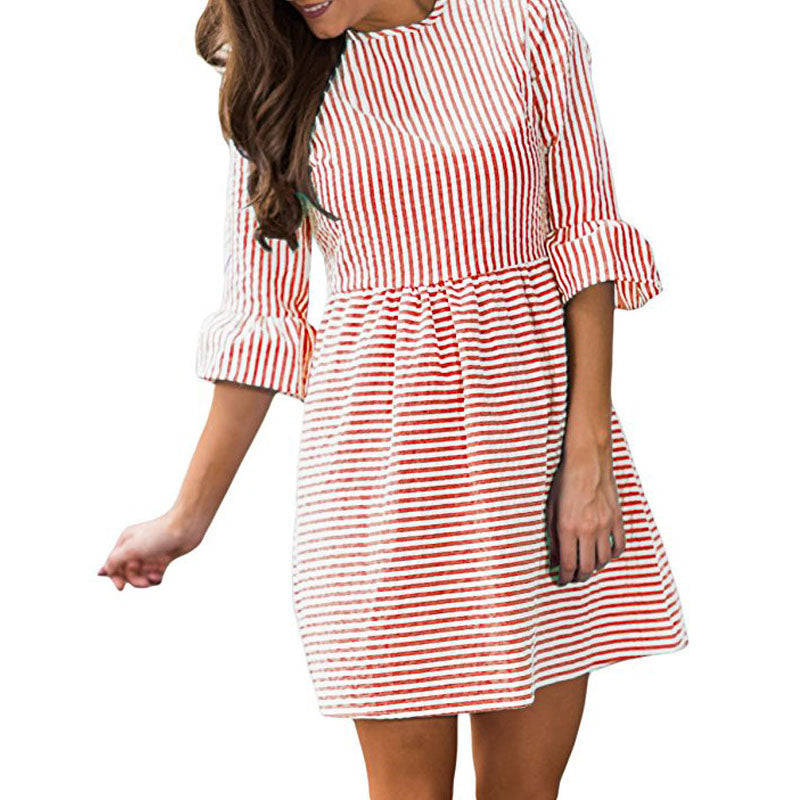 Stripe Pleated Trumpet Sleeve Short Dress