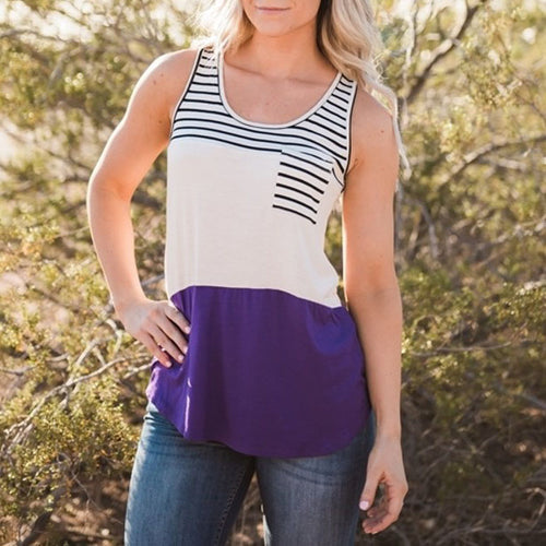 Patchwork Stripes Pocket Sleeveless Vest