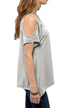 Scoop Neck  Asymmetric Hem T-Shirts