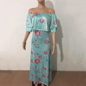 Floral Print Flounced Maxi Dress