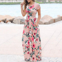 Floral Print Side Pocket Floor-Length Dress