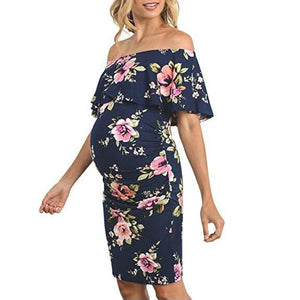 Maternity Floral Ruffle Off Shoulder Dress