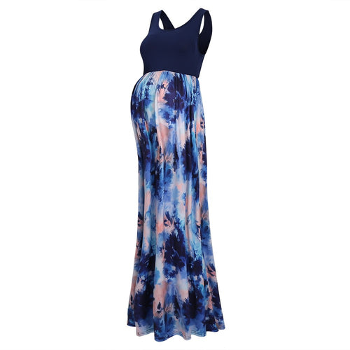 Maternity Abstract Watercolor Sleeveless Maxi Dress