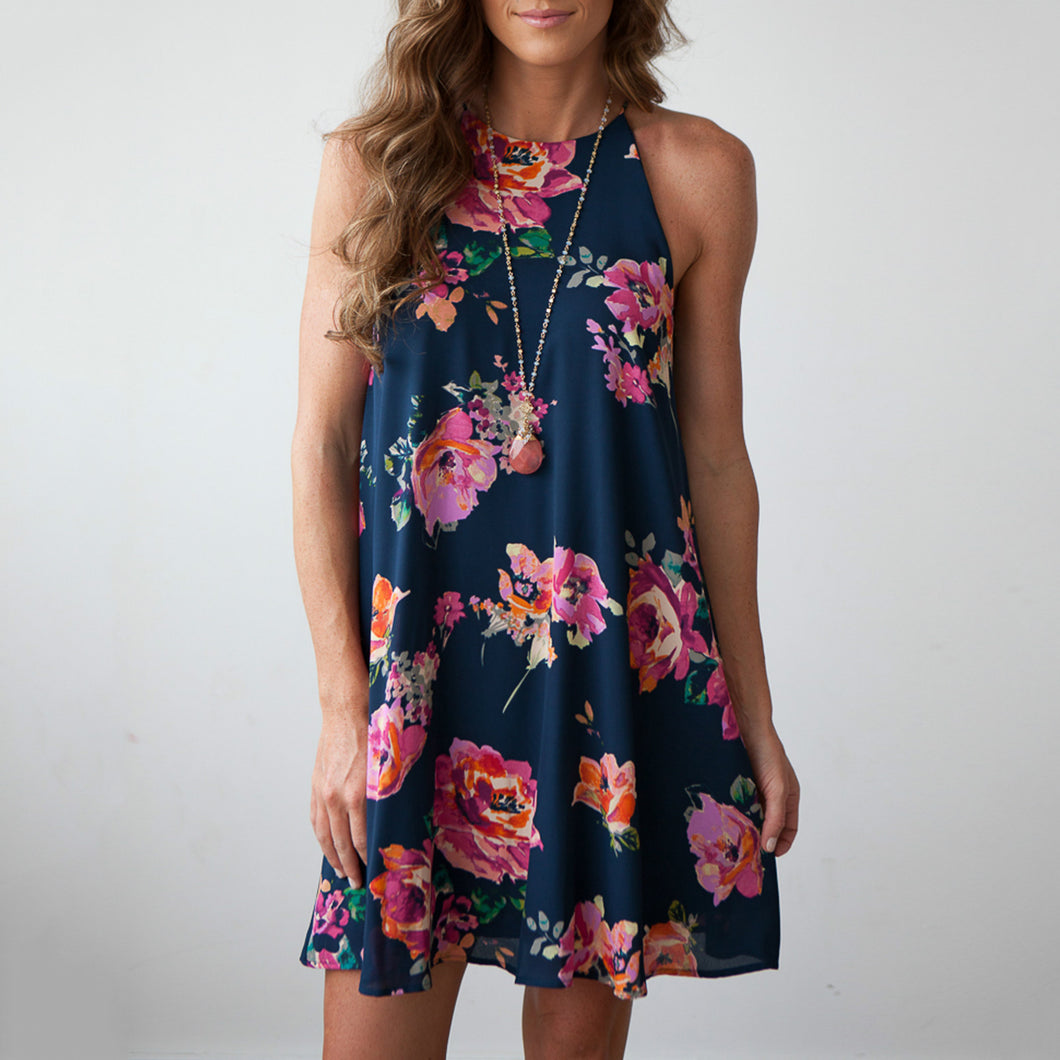 Floral Print Sleeveless Short Dress