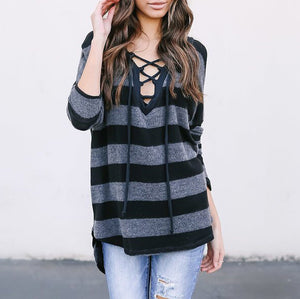 V-Neck Stripes Crisscross Tee