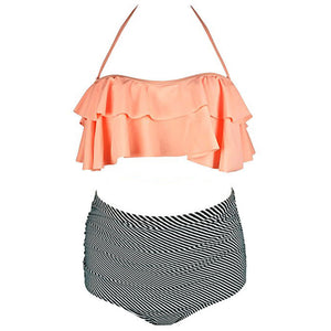 Maternity Ruffle Trim Halter Bathing Swim Suits