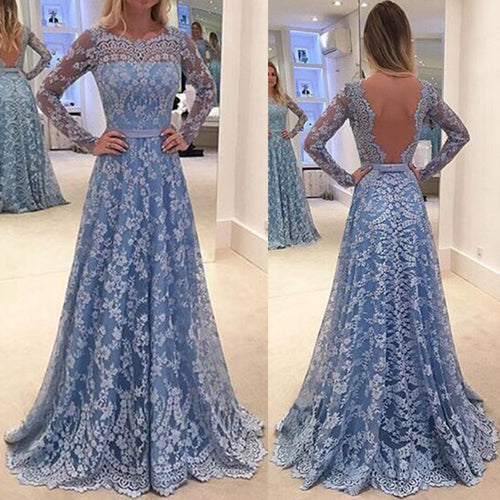 Elegant Lace Embroidery Long-Sleeved Open Back Long Evening Dress