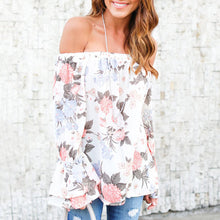 Floral Print Trumpet Sleeve Blouse