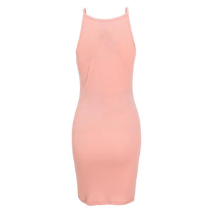 Halter  Plain  Sleeveless Bodycon Dresses