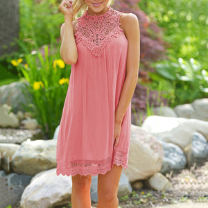 Lacework Patchwork Sleeveless Short Dress