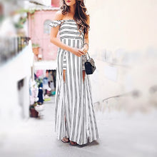 Striped Off-The-Shoulder Holiday Dress