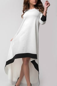 Crew Neck  Asymmetric Hem  Plain  Long Sleeve Maxi Dresses