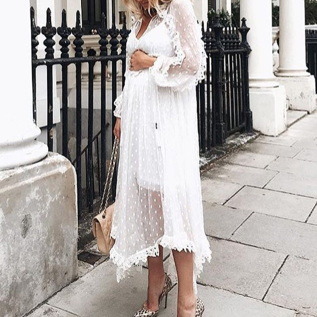 Maternity Irregular Hem Lace Dress