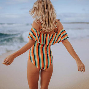 Maternity Stripe One-Piece Bathing Swim Wear