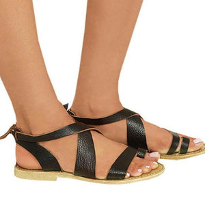 Black Artificial Leather Lace-Up Flat Sandals